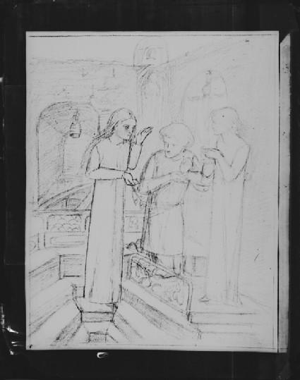 Glass plate negative of 'Study of Sir Galahad'