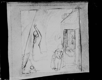 Glass plate negative of 'Grieving Woman and Other Figures'