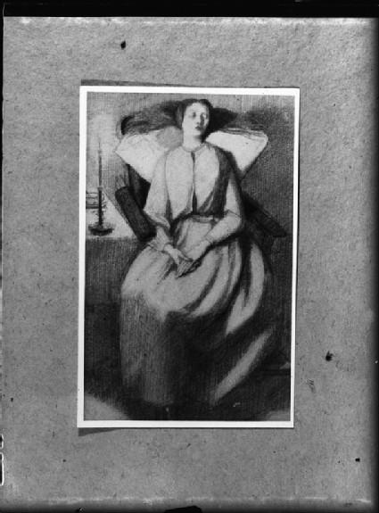 Glass negative of a drawing of Elizabeth Siddal