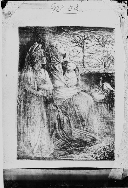 Glass plate negative of 'Madonna and Child' (Holy Family)