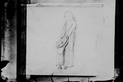 Glass plate negative of 'Figure Study of Mother and Child'