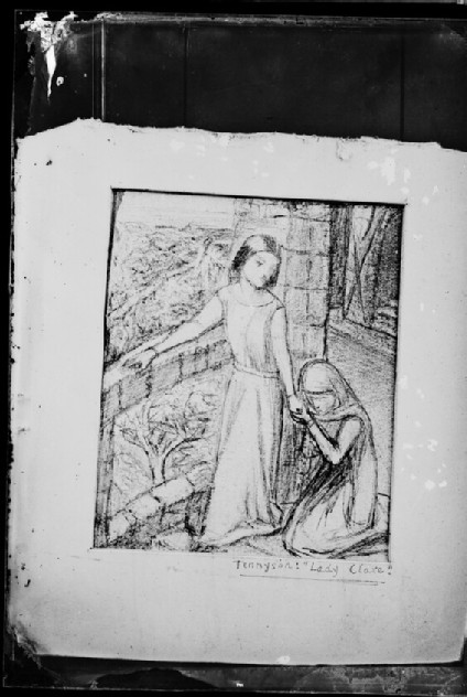 Glass plate negative of 'Study for Lady Clare'