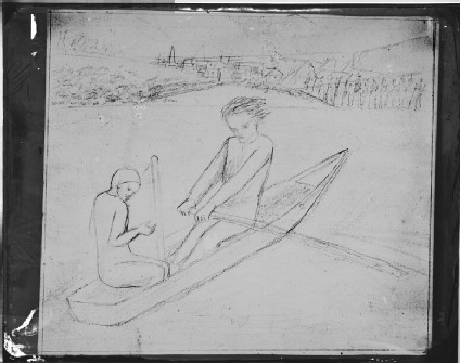 Glass plate negative of 'The Rowing Boat'