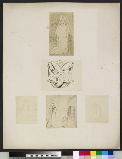 Studies of angels and kneeling women, with study for 'The Blessed Damozel'