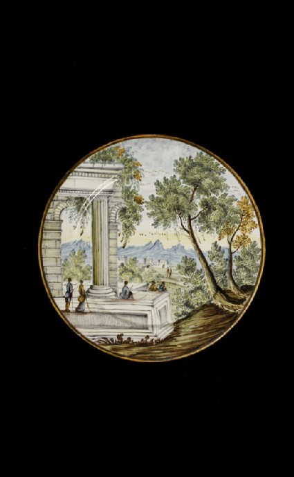 Plate with a landscape
