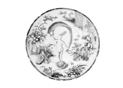 Plate with allegory of Occasion as nude lady on shell with banner within Chinese style landscape with figures
