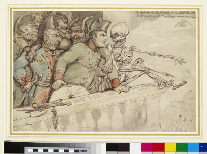 Recto: The Corsican, his two friends and his blood hounds at the Window of the Thuilleries (Tuileries) looking over Paris Verso: The same Composition traced through