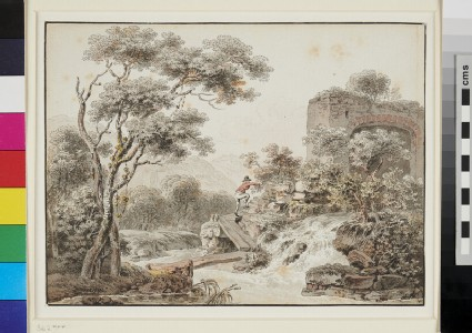 River Landscape with a Man crossing a Bridge