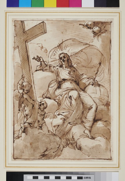 Christ seated on Clouds, pointing to the Cross