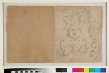 Recto: Caricatures of the Heads of seven Men<br />Verso: Caricatures of the Heads of six Men with Studies of Leaves and a Landscape Sketch