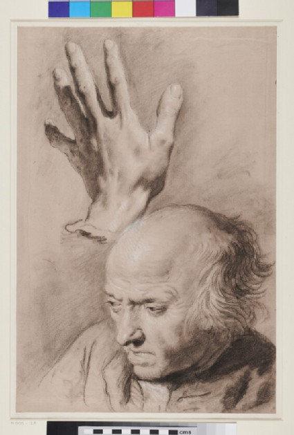 Man's Head and a Hand