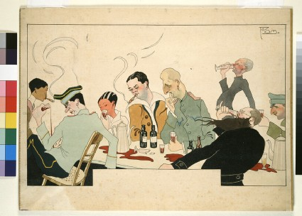 Company at the table drinking