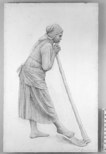 Italian peasant Girl leaning on a Scythe