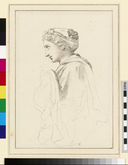 Study of a sculpted Head and upper draped Torso of a Woman in Profile