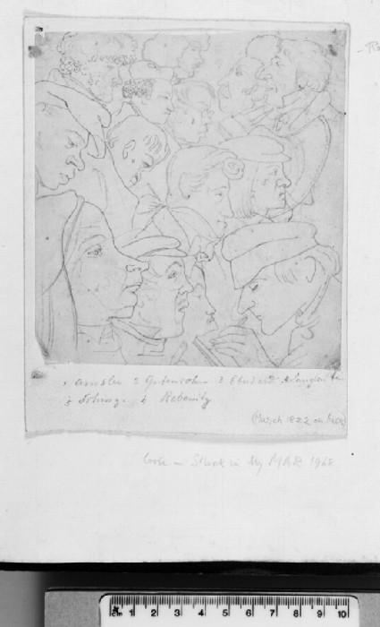 Recto: Caricatured Heads in Profile<br />Verso: Italian landscape with Castello