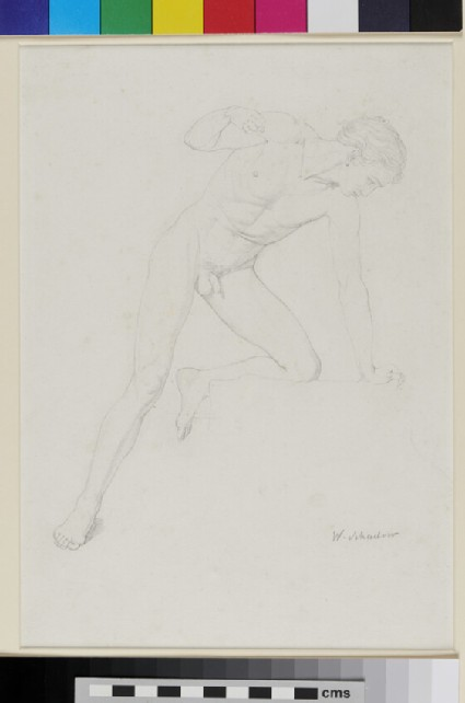 Figure Study of a nude Youth, facing right, kneeling with left Leg on raised Support
