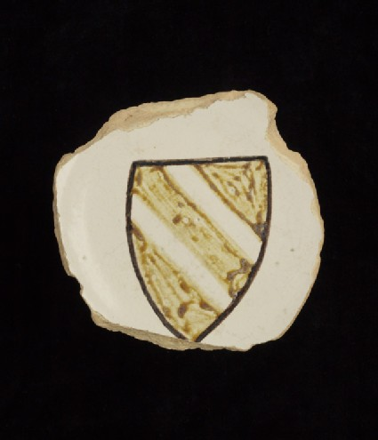 Foot-ring and base of a dish with shield of arms