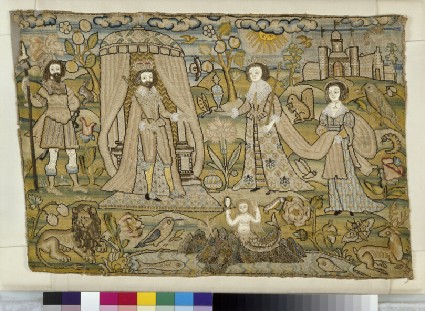 Embroidered picture with Solomon and the Queen of Sheba