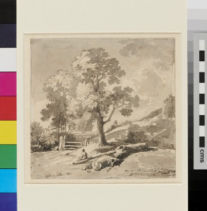 Landscape with Figure sitting on a Log