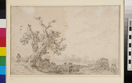 Landscape with Tree and Travellers on a Cart