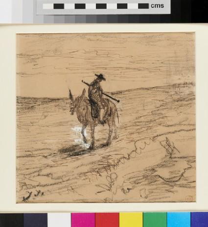 A Matador seated on a Donkey