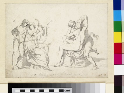 A youth standing by a woman playing a lyre and a separate study of an embracing couple (after the antique)