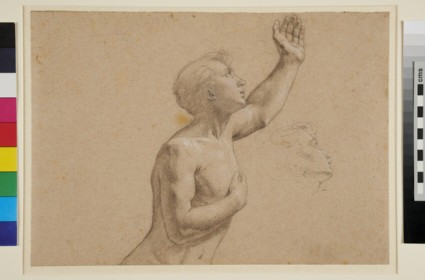 Recto: Half-length Study of a nude Youth, in profile to right, with a separate Study of his Head <br />Verso: A geometric Diagram