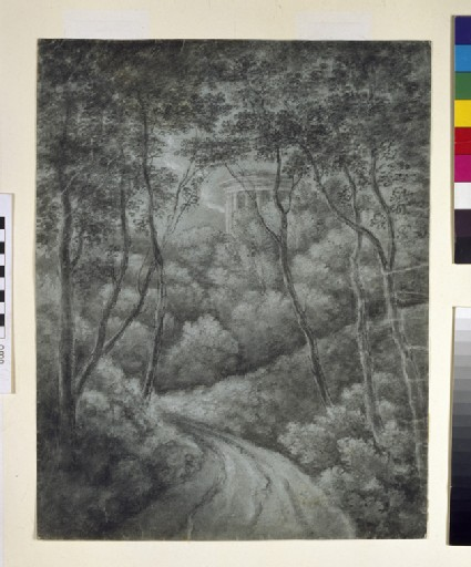 Landscape with a Path through a Forest and a classical Temple