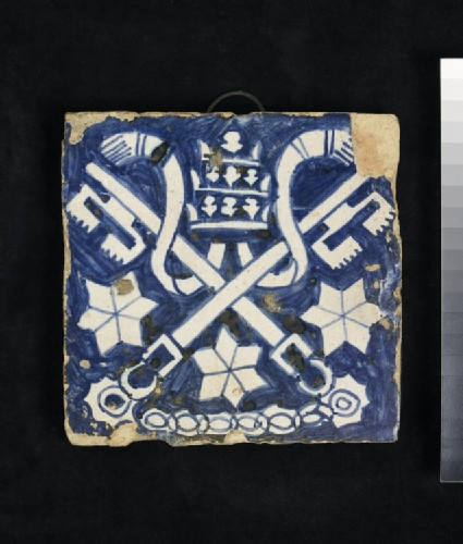 Tile with insignia of the Papacy