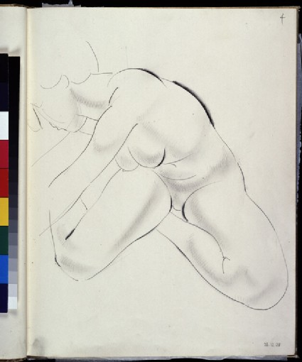 Seated female nude leaning towards left