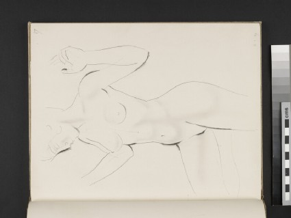 Standing female nude with hands raised and right leg bent