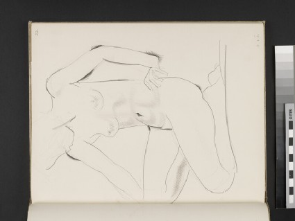 Kneeling female nude facing towards left