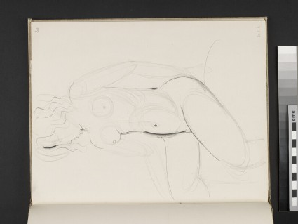 Seated female nude turning towards left