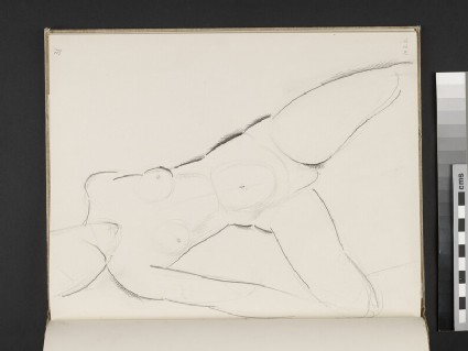Seated female nude leaning on her right arm