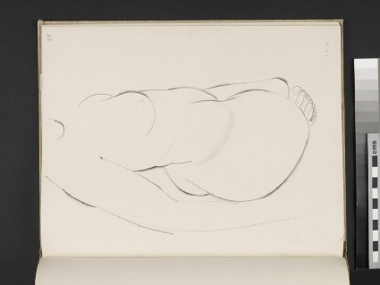 Study of female nude twisting to the right, viewed from above