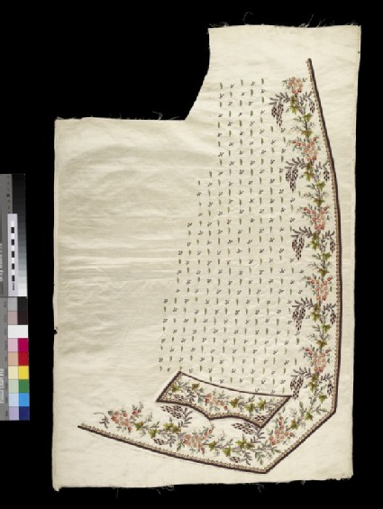 Cream satin embroidered right panel for a waistcoat