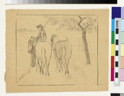 Man riding side-saddle, and another horse