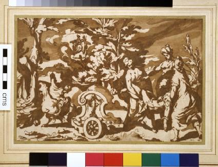 Armida having Rinaldo's body placed in her chariot