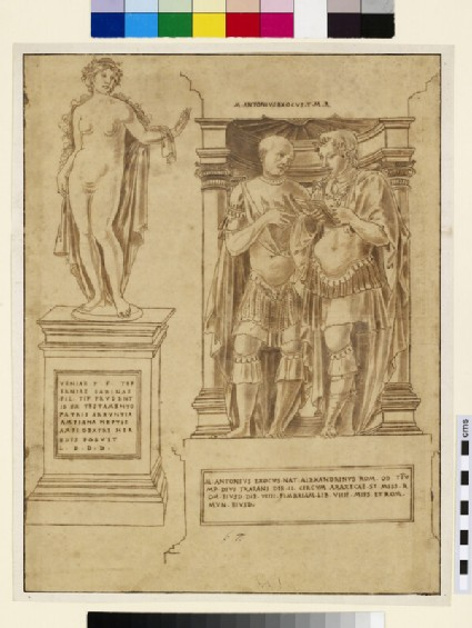 A nude female figure, standing on a plinth, and funerary stele to Gladiator Marcus Antonius Exochus