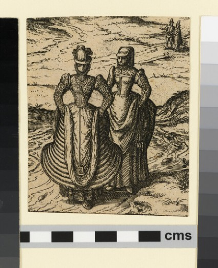Two women in Spanish costume lifting their skirts to cross a stream