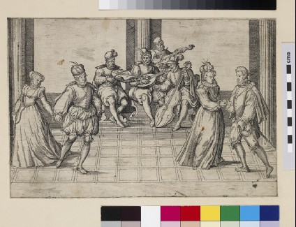 Two noble couples dancing to a group of musicians