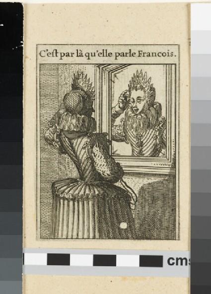 Woman standing before a mirror: 'C'est par là qu'elle parle Francois'