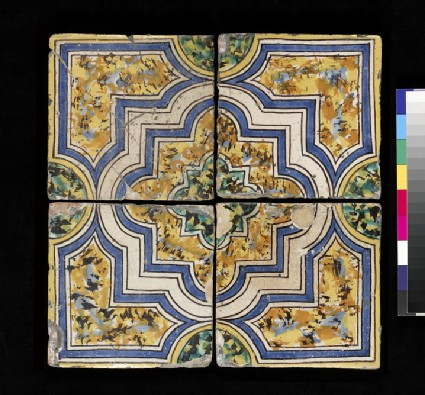 4 floor tiles with cuspid quatrefoil in strapwork with linking semi circles