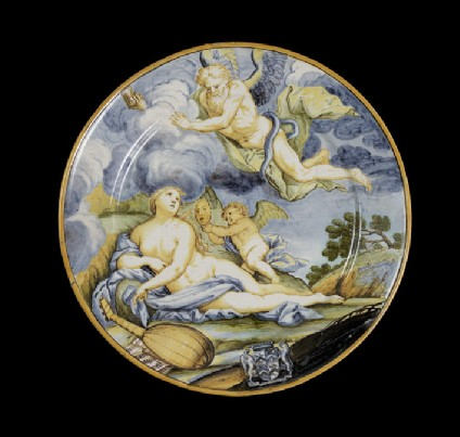 Plate with 'Time unveiling Truth, arms of Rockingham