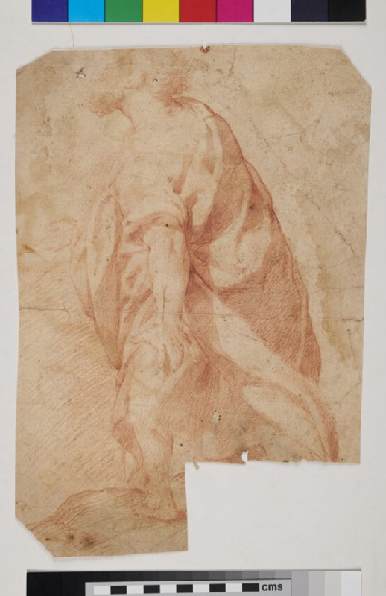 Draped bearded Figure, walking in profile to left