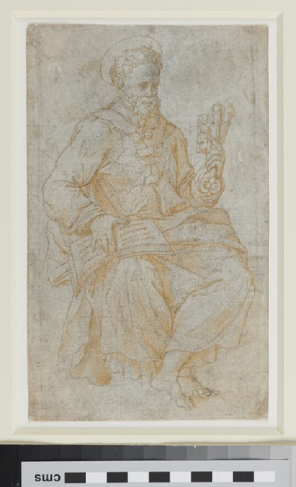 St Peter seated with Keys in left Hand and Book on right Knee