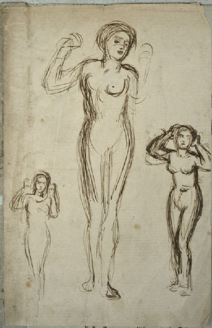 Female nude in three poses, arms raised