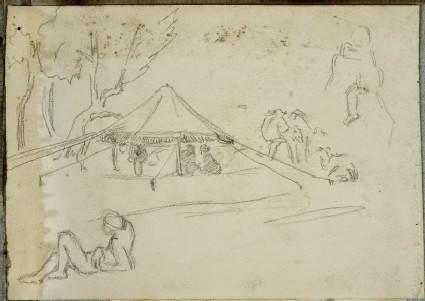 A Camp Site with Tent, Equipment and Figures