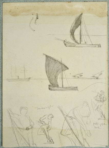 Studies of sailing Boats and Figures