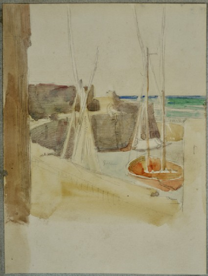 Recto: Watercolour Study of Boats in a Harbour Verso: Study of a Seated Camel